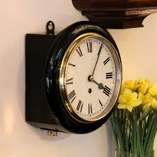 small ebonised chain fusee english dial wall timepiece for circa 1920