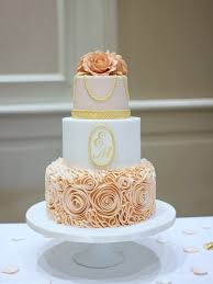 Rosegold Ruffles And Pearls French Wedding Cakes