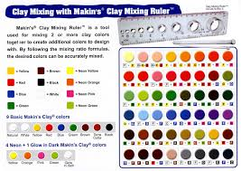 Clay Color Chart Makins Clay Color Chart Clay Mixing Charts