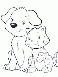 Small Picture Dog and Cat Coloring Pages coloringsuitecom