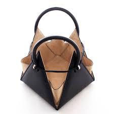 gaudi lia pyramid black soft sheep s leather handbag
