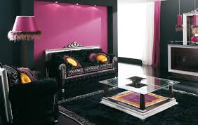 Purple Living Room Furniture Wonderful Black Living Room Interior With Cozy Sofa Completed And