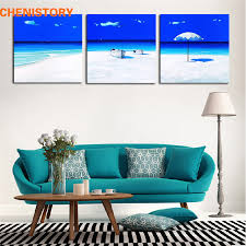unframed 3 panel light blue beach seascape modern print picture painting home wall art decor for living room decoration artwork on 3 panel wall art beach with unframed 3 panel light blue beach seascape modern print picture