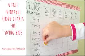 Free Printable Chore Chart For 4 Year Old 4 Free Printable Chore Charts For Young Kids Everydayfamily