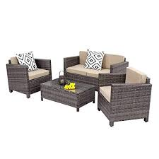 wicker patio furniture sets. Wisteria Lane Outdoor Patio Furniture Set,5 Piece Conversation Set Rattan  Sectional Sofa Couch Loveseat Wicker Patio Furniture Sets