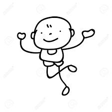 線画図面のかわいい男の子の手します抽象的な幸せな人幸福概念とイラスト