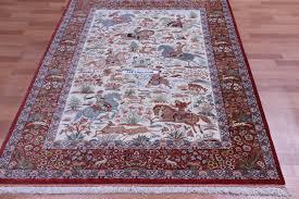 pictorial hunting design qom silk persian rugs pure silk qum persian carpet with hunting design