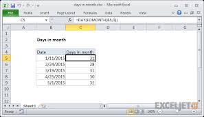 Excel Chart Count By Month Excel Formula Days In Month Exceljet