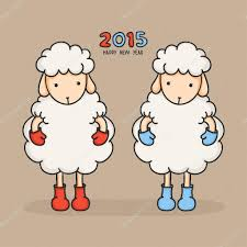 chinese character for happy new year colorful cute sheep in boots happy new year 2015 greeting card