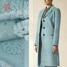 Light Blue Wool Dress Light Blue 3d Floral Jacquard Cashmere Wool Fabric For Coat