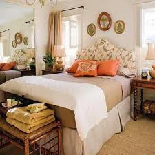 Cozy Guest Bedroom Decor With Stylish Floral Curvy Headboard And Wooden  Side Table Perfect Guest Bedroom