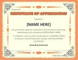 Certificate Of Examples Certificates Appreciation Wording