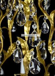 antique crystal pendant chandelier vintage gold leaf gilt gilded red tole