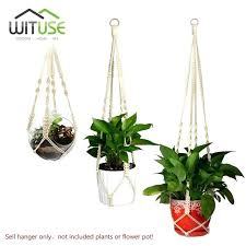 plant hangers macrame plant holder cotton rope plant hanger iron ring flower pot hooks indoor outdoor plant holders for brick walls