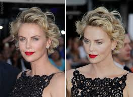 Charlize Theron Short Hair Style charlize theron short curled hairstyle with the hair away from 1327 by wearticles.com