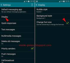 how to change text size samsung galaxy s5 how to change font size in messaging app in