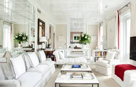Living Room With White Walls Narrow Living Room Design With Lacquer Ceiling And White Furniture