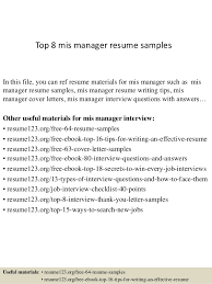 mis manager resume top 8 mis manager resume samples