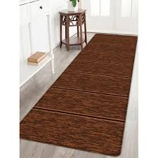 wood grain print non slip water absorption area rug tan w24 inch l71