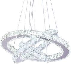 Cheap Pendant Light Fixtures Dixun Led Modern Crystal Chandeliers 3 Rings Led Ceiling Lighting Fixture Adjustable Stainless Steel Pendant Light For Bedroom Living Room Dining