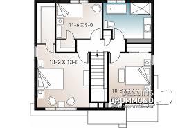 Étage   Plan De Maison Moderne Cubique à étage Avec 3 Chambres, Buanderie,  Garde