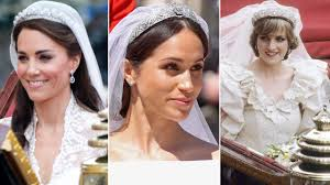 a trio of photos on left kate middleton on her 2016 wedding day in middle meghan