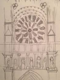 quick pencil sketch of notre dame window