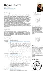 Resident Assistant Resume samples