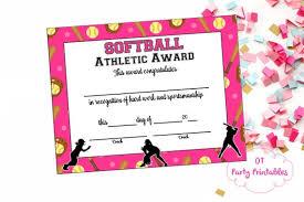 softball award certificate softball certificate of achievement softball award print etsy