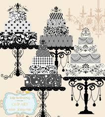 elegant wedding cake clipart. Unique Clipart Elegant Black White Silver Grey Wedding Cakes Set Of 4 Large Multi Tier  U0026 Beautiful Stands W104  Unique Clipart Download 595 Via Etsy Intended Elegant Wedding Cake Clipart W
