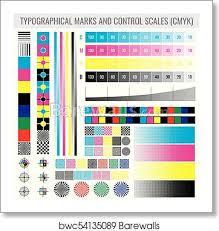 Colourtone Colour Chart Cmyk Press Print Marks And Colour Tone Gradient Bars For Printer Test Vector Set Art Print Poster