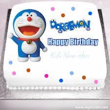 Happy Birthday Doraemon Cartoon Kids Cake With Kids Name