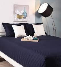 navy blue cotton king size bed