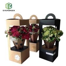 Paper Flower Suppliers China Customized Kraft Flower Gift Paper Box With Hangers
