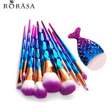 11pcs mermaid fish l shaped diamond rose gold makeup brush set foundation powder cosmetics brush rainbow