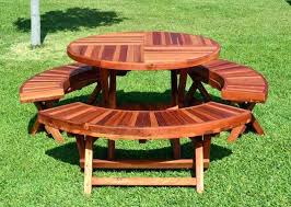 round wooden picnic table collapsible wood folding by forever redwood y48
