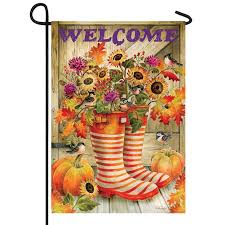 welcome fall rain boots flag lawn and