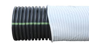 section of single wall corrugated pipe enclosed by white sock