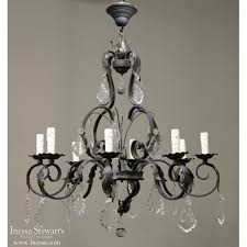 country french wrought iron chandelier with cut crystals