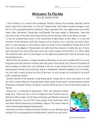 Comprehension Worksheet - Welcome to Florida