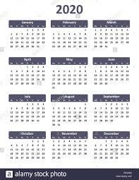 2020 Calendar Editable Simple Editable Vector Calendar For Year 2020 Stock Vector