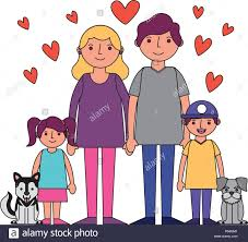 Image result for cartoon illustration of a loving family and dog