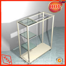 stainless steel paint metal melamined wooden display stand with glass holder