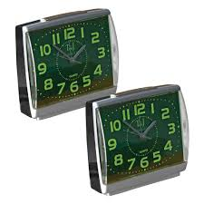 glow in the dark alarm clock large face easy to read set of 2 com