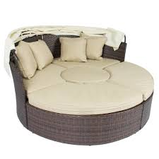 Round Outdoor Bed Outdoor Patio Sofa Furniture Round Retractable Canopy Daybed Brown