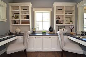 built in desk cabinets home office traditional with shared workspace gray walls built in storage