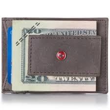 alpineswiss mens leather money clip magnet front pocket wallet slim id card case 0