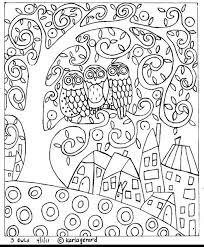 Rug Hook Paper Pattern 3 Owls Abstract Folk Art Karla G Coloring