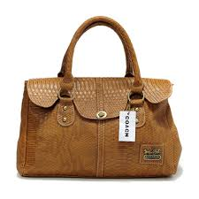 Coach Embossed Lock Medium Brown Satchels DEA