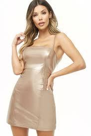 metallic faux patent leather shift dress